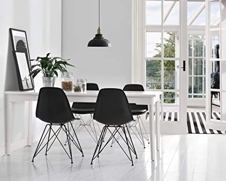 Admirable Novogratz Louise Mid Century Modern Molded Chair With Coloured Leg Set Of Two Black Ibusinesslaw Wood Chair Design Ideas Ibusinesslaworg
