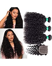 MQYQ (12+14 16 18) Water Wave 3 Bundles with Lace Closure Free Part Brazilian Virgin Hair Hair Extensions Natural Wave Curly Unprocessed Human Hair Weave Wet And Wavy Hair Natural Color 95-100g/pc
