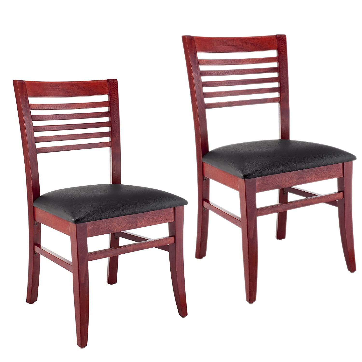 Amazon com beechwood mountain bsd 49s m solid beech wood side chairs in mahogany for kitchen dining set of 2 na kitchen dining
