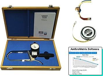 Plicometro Harpenden con Software Body Tracker, Estuche, Cinta Antropométrica Lufkin W606PM, Manual de Instrucciones para Medir Porcentaje de Grasa Corporal, Calibre Cientifico de Alta Precision: Amazon.es: Salud y cuidado personal
