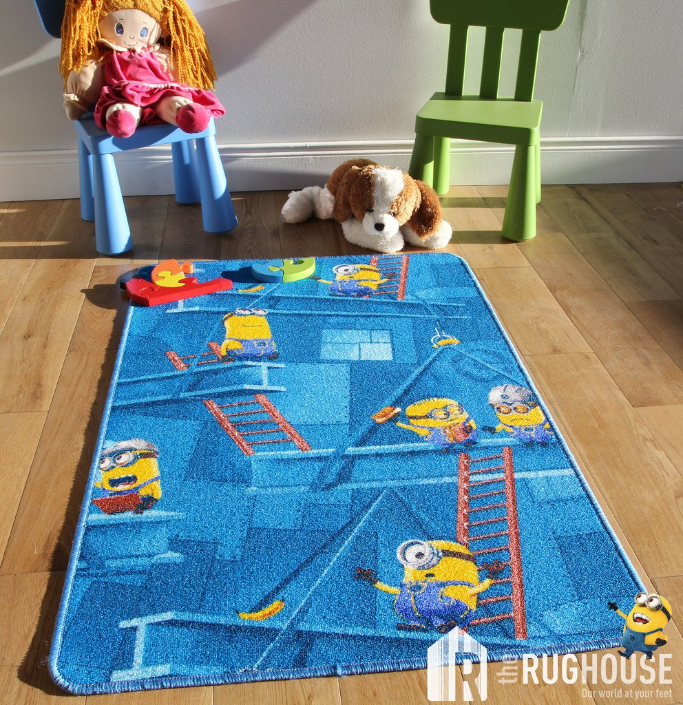 kids fun minions cartoon rug playful blue yellow 3d style childrens bedroom mats 80cm x 120cm amazoncouk kitchen home - Kids Bedroom Mats