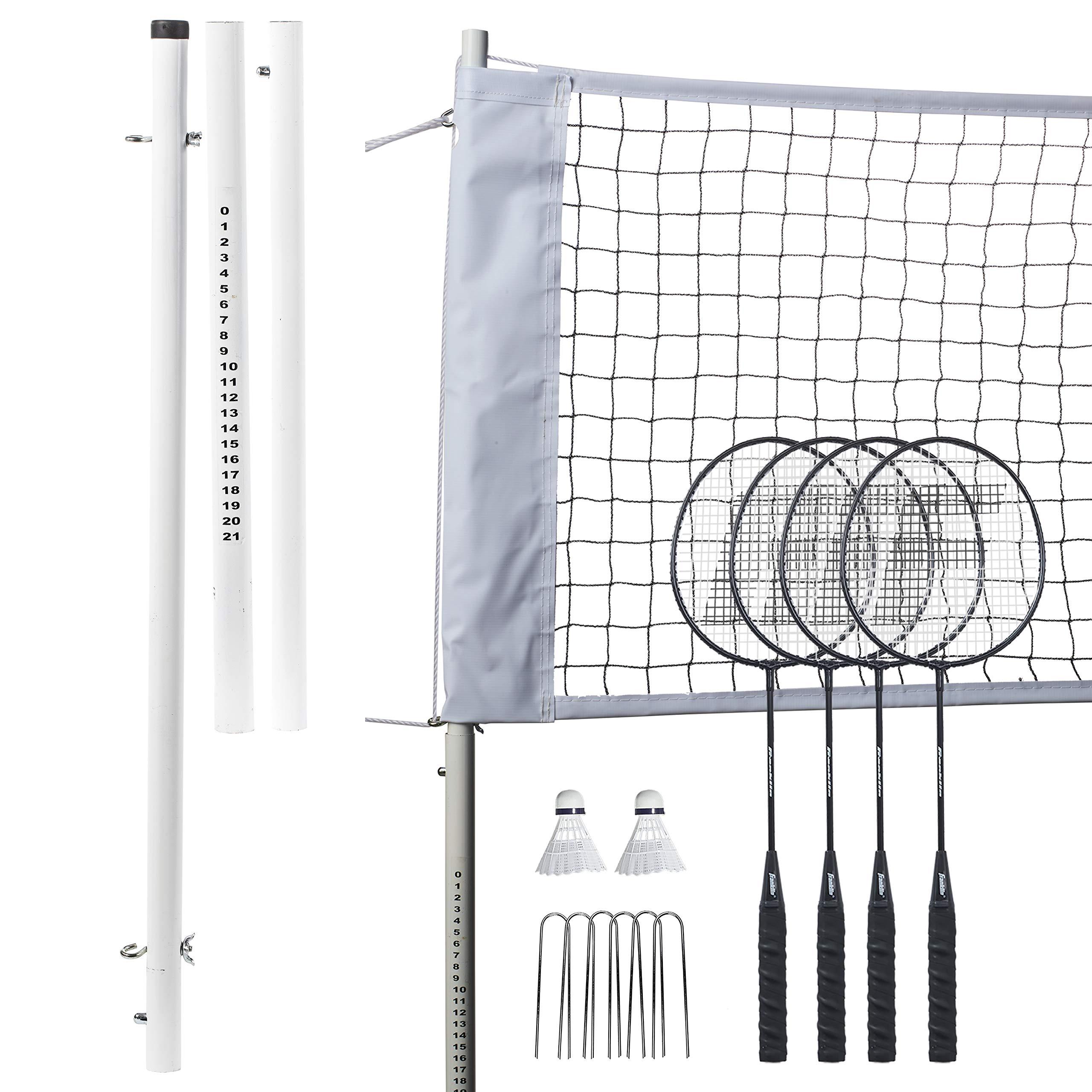 Franklin Sports Badminton Net Professional Set - 4 Aluminum Rackets, 2 Birdies, Adjustable Net and Stakes - Backyard or Beach Badminton Set - Easy Setup