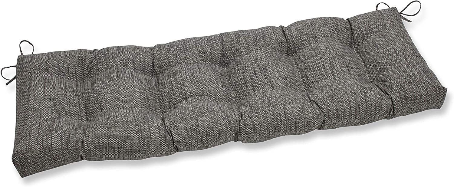 """Pillow Perfect Outdoor/Indoor Remi Patina Tufted Bench/Swing Cushion, 60"""" x 18"""", Gray"""