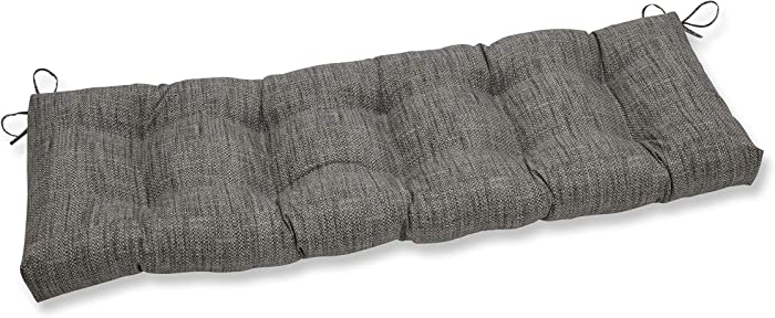 "Pillow Perfect 654102 Outdoor/Indoor Remi Patina Tufted Bench/Swing Cushion, 56"" x 18"", Gray"
