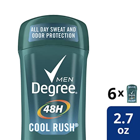 Degree Men Antiperspirant Deodorant odor and sweat protection Cool Rush 48 hour 2.7 Oz ,Pack of 6