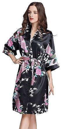 934442378b Pijama Lencería Kimono Corto de Satén Camisón Sexy Pijama Vestido de  Estampado Floral para Mujer  Amazon.es  Ropa y accesorios
