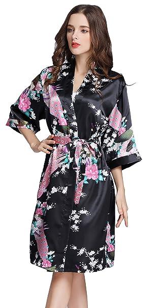 Pijama Lencería Kimono Corto de Satén Camisón Sexy Pijama Vestido de Estampado Floral para Mujer: Amazon.es: Ropa y accesorios