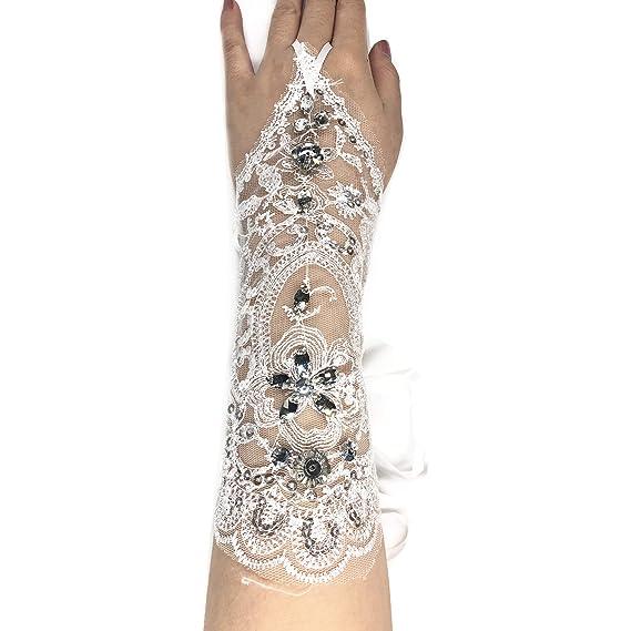 Spitzen Handschuhe lang fingerlos weiß Hochzeit