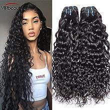 VIPbeauty Water Wave 3 Bundles 100% Unprocessed Thick human Hair Weave Extension Unprocessed Hair Weaving(14 16 18)