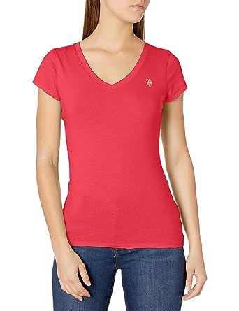 U.S. Polo Assn. Womens Short Sleeve V-Neck T-Shirt, Teaberry, S ...