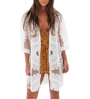 1bdb0a167a Teewanna Women s Sheer Chiffon Boho Kimono Long Cardigan Beach Cover ...