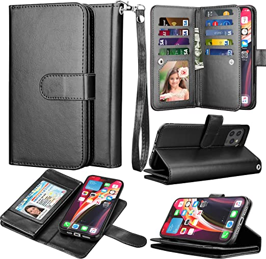 Amazon Com Takfox Compatible For Iphone 12 Pro Max Wallet Phone Case 6 7 2020 Pu Leather Mutiple Id Credit Card Slots Holder Folio Flip Kickstand Detachable Magnetic Phone Case Wrist Strap Black