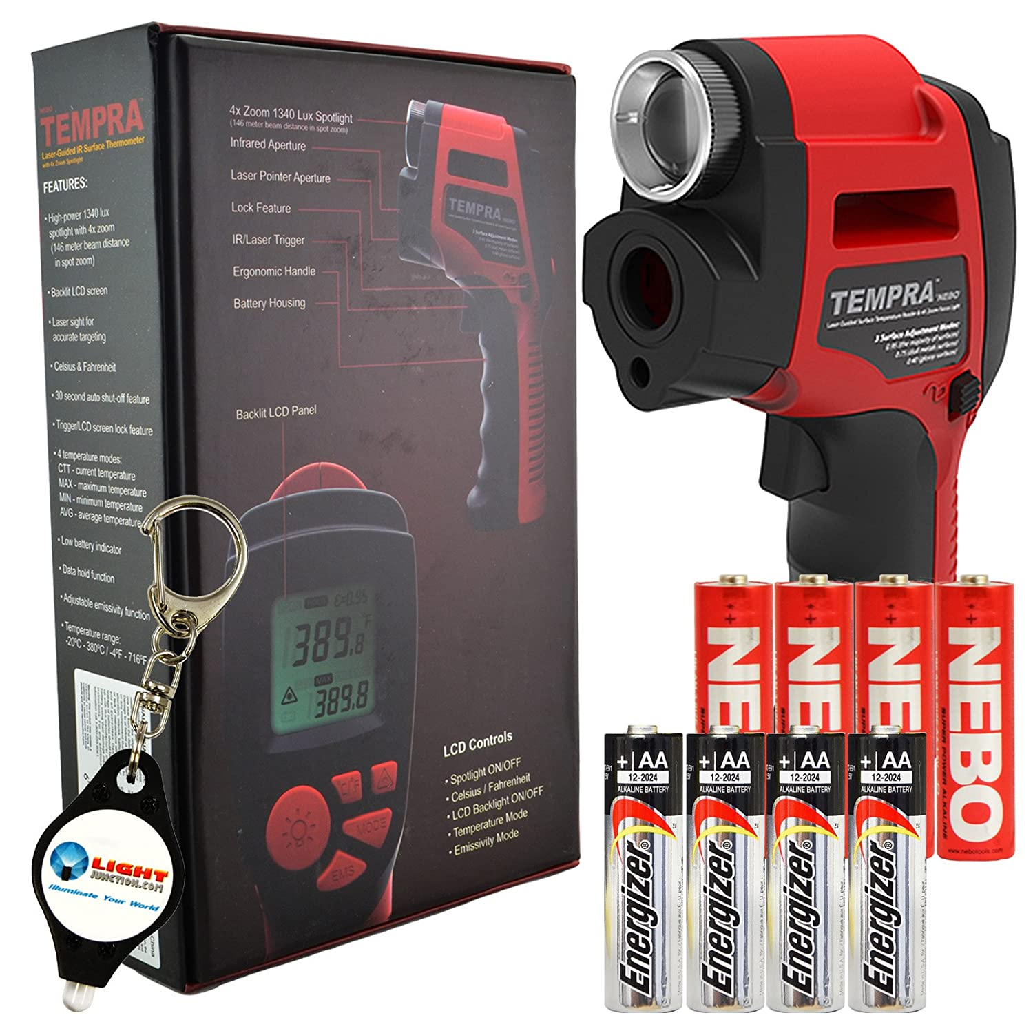 Nebo Tempra 6433 Laser IR Thermometer Zoomable Spotlight with 4 Extra AA Batteries and LightJunction Keychain Light