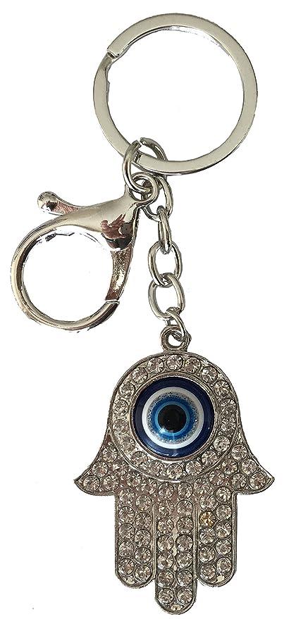 Hamsa - Llavero con mosquetón, ojo turco azul para ...