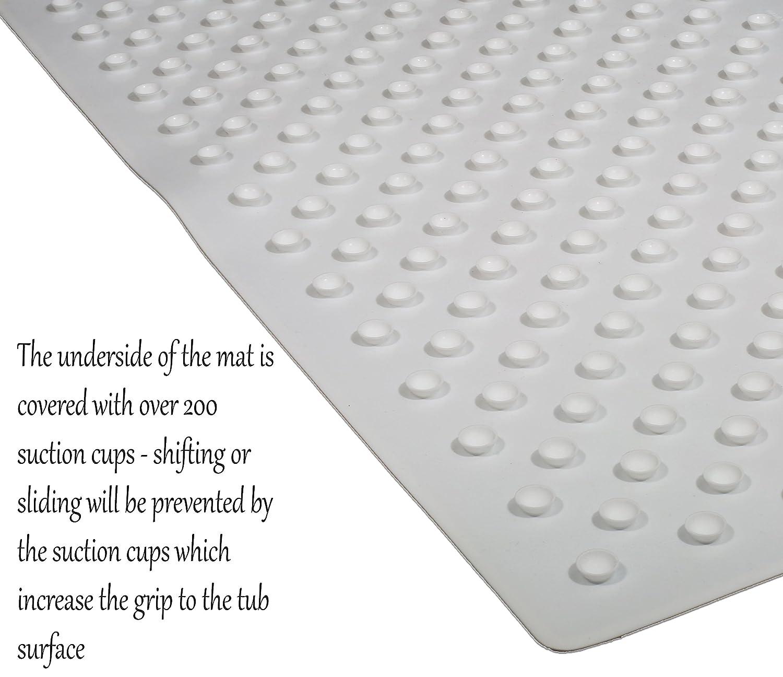 amazoncom natural silicone antislip bath mat white  x   -  x  latex and pvc free silicone nonslip antibacterial bathmatsfor tub  slipresistant bathtub mats with nonslip suction cups home kitchen