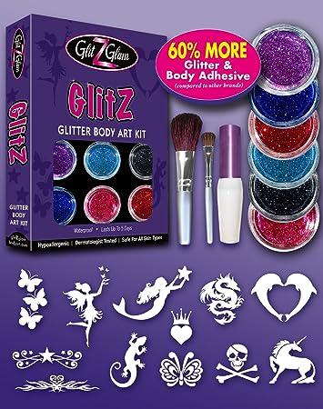 Amazoncom Glitter Tattoo Kit New Glitz With 6 Large Glitters