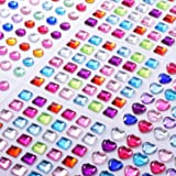 9 Sheets Self-adhesive Rhinestone Stickers Stick-on Crystal Gem Sheets for DIY Crafts Decoration, Assorted Colors, Square, Round and Heart Shaped
