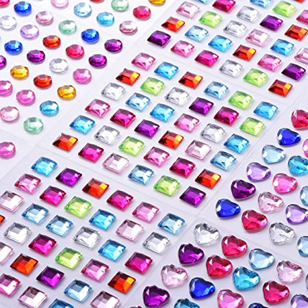 9 sheets self adhesive rhinestone stickers stick on crystal gem sheets for diy crafts
