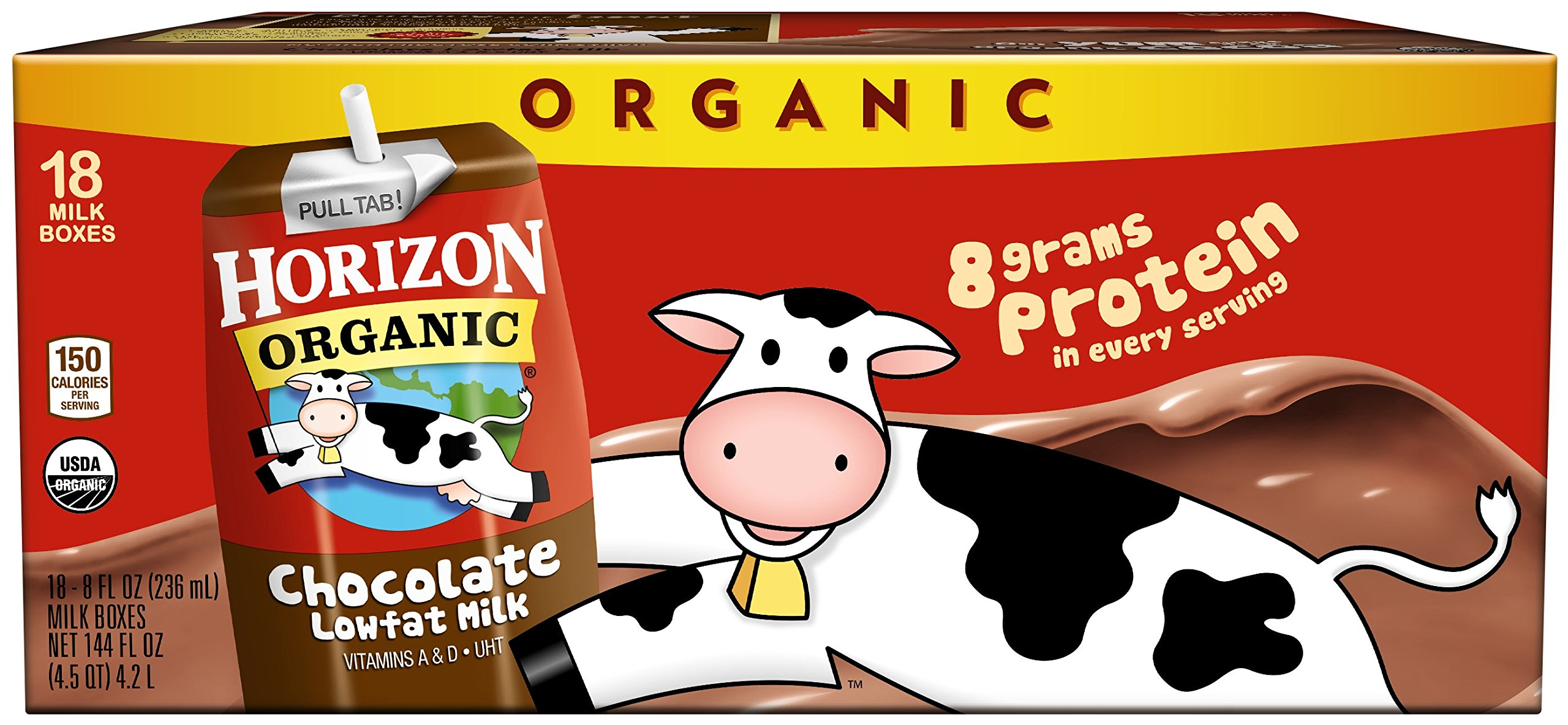 Horizon Organic, Low Fat Milk, Chocolate, 8-Ounce Aseptic Cartons (Pack of 18), 8g Protein and 30% DV Calcium, Juice Box Alternative
