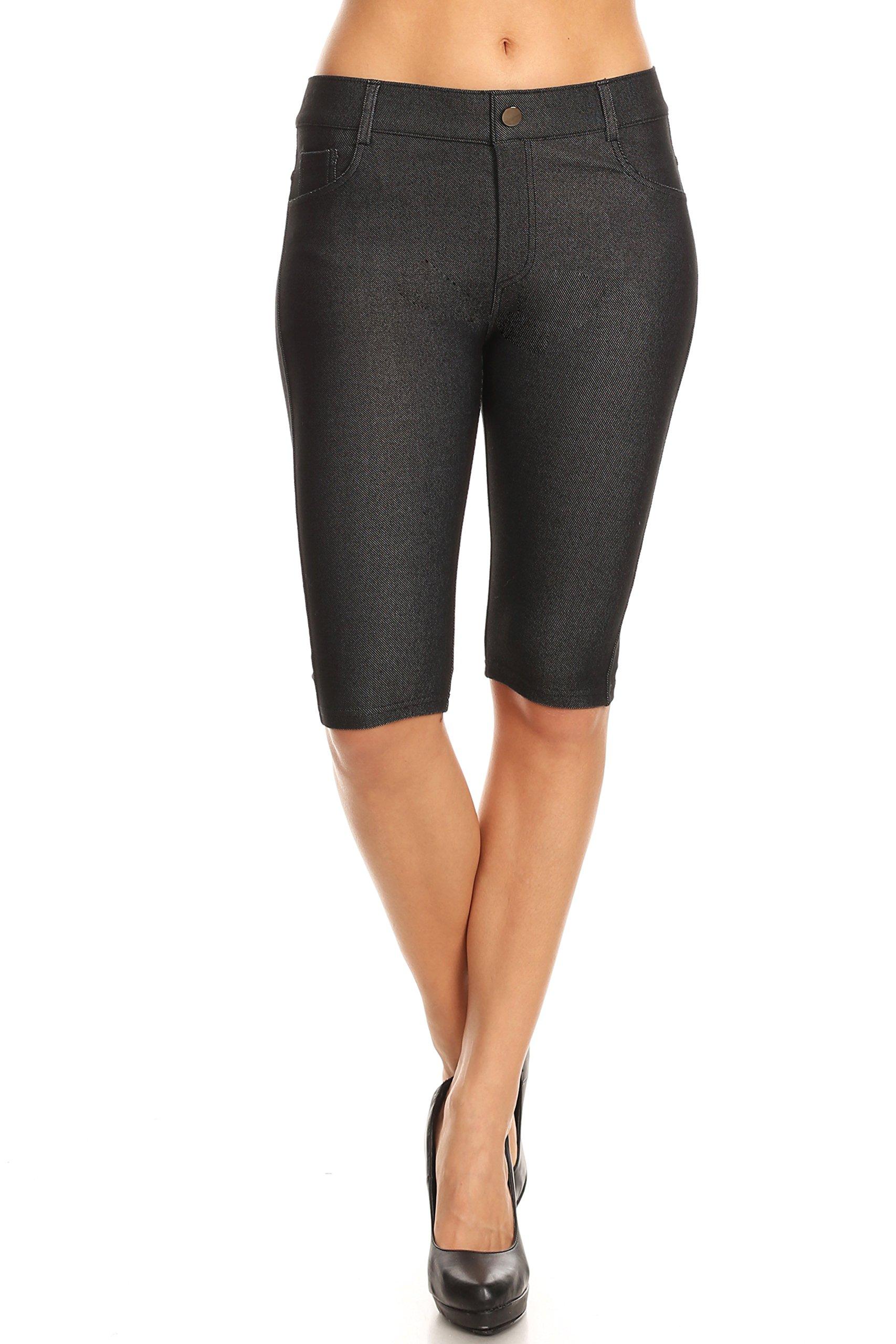 ICONOFLASH Women's Solid Colored Denim Style Bermuda Shorts (Black, Small)