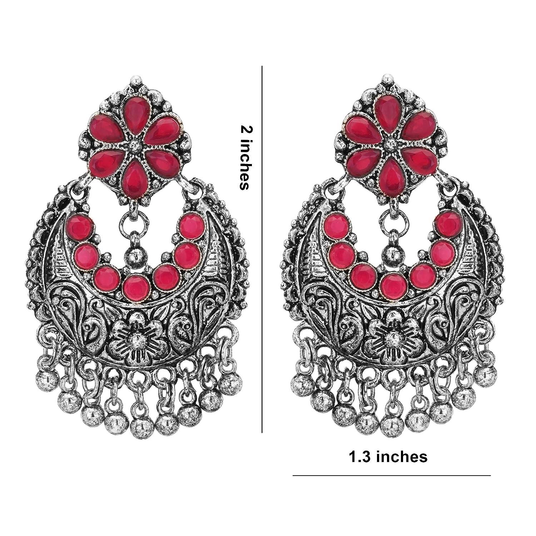 Jwellmart Indian Designer Bollywood Oxidized Silver Stone Afghani Jhumka Jhumki Festival Weddimg Earrings for Women and Girls