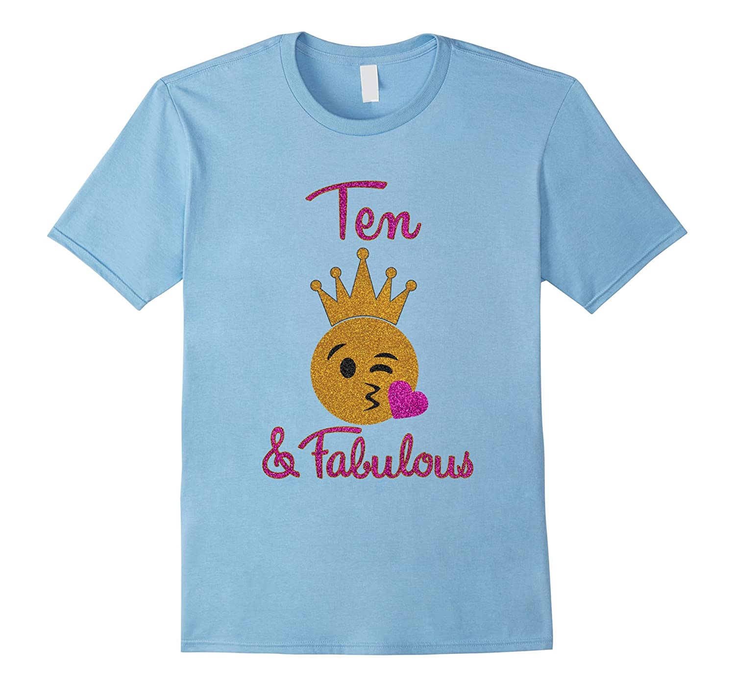 10th Birthday Girl Ten and Fabulous Emoji Shirt-TH