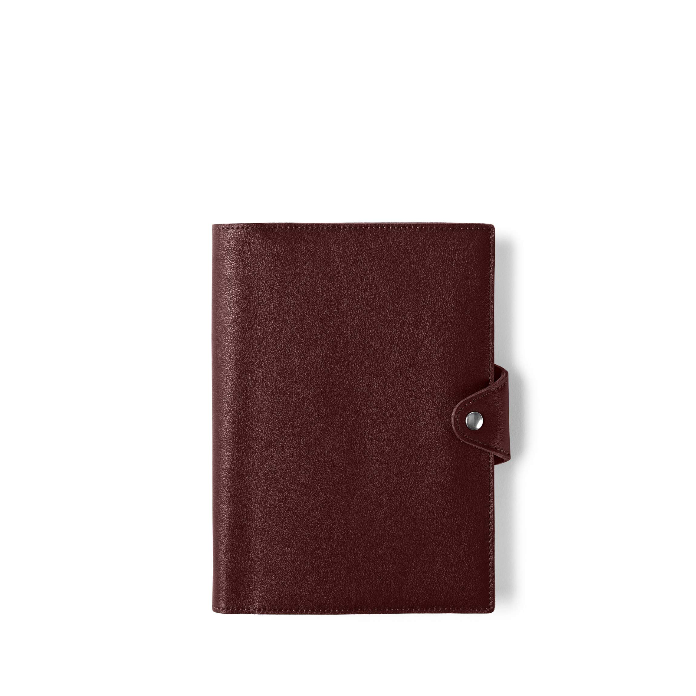 Medium Snap Journal with Pen Loop - Full Grain Leather Leather - Bordeaux (Red)