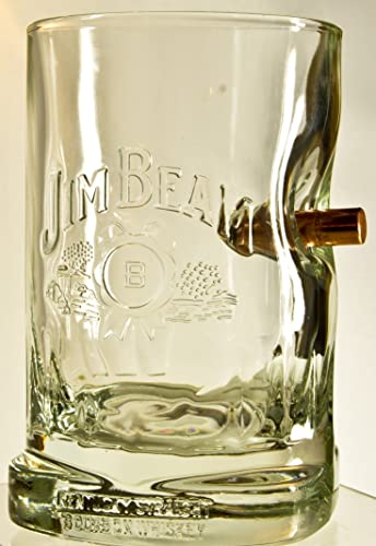 Jim Beam Whisky Glas WhiskyGläser mit realem Geschoß Kaliber Typ FMJ ...