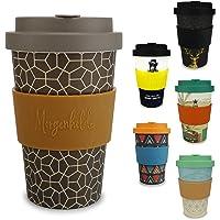 Morgenheld ☀ Vaso de bambú moderno | vaso para llevar ecológico | vaso para café sostenible con tapa de silicona de diseño moderno |capacidad total 400 ml
