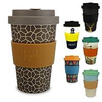Morgenheld ☀ Dein trendiger Bambusbecher | umweltfreundlicher Coffee-to-Go-Becher | nachhaltiger Kaffeebecher mit Schraubdeckel und Banderole in coolem Design 400 ml Füllmenge (Ethno)