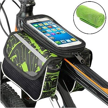 Bolsa de Bicicleta Cuadro Impermeable Bolso Manillar Bici Con Pantalla Táctil Sensible,Montaña Ciclismo Marco Bolsas Tubo Funda Inteligente Móvil Teléfono para iPhone X 8 7 6s 6 Plus Samsung S9 S8 S7: