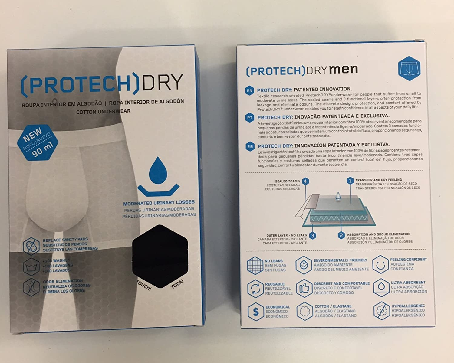 Amazon.com: PROTECHDRY Washable Incontinence Cotton Underwear Boxer: Health & Personal Care
