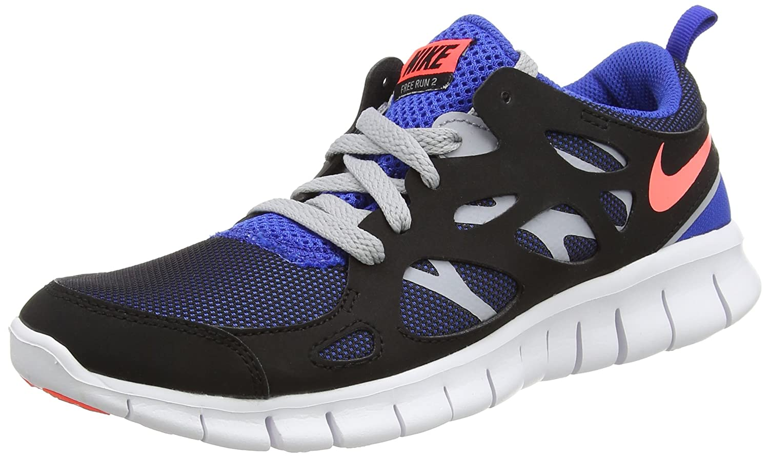 save off ed6a3 c6442 Amazon.com   NIKE Free Run 2 (GS) - Black Hot Lava Game Royal, Size US 5.5Y    Running