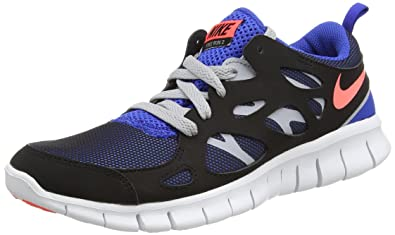 Amazon.com | NIKE Free Run 2 (GS) - Black/Hot Lava/Game Royal, Size ...