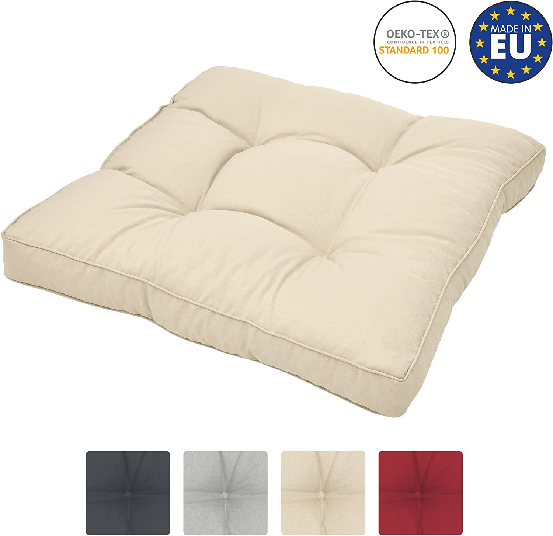 Beautissu Cojines para Muebles de jardín XLuna Lounge sillas de Mimbre de Exterior Asiento Grueso Acolchado Aprox. 50x50x10 cm Natural