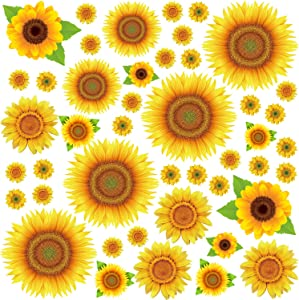 Rajahubri Sunflowers Wall Sticker Yellow Flowers Wall Decals Floral Removable Wall Stickers Wall Decal for Kids Nursery Bedroom 45Pcs