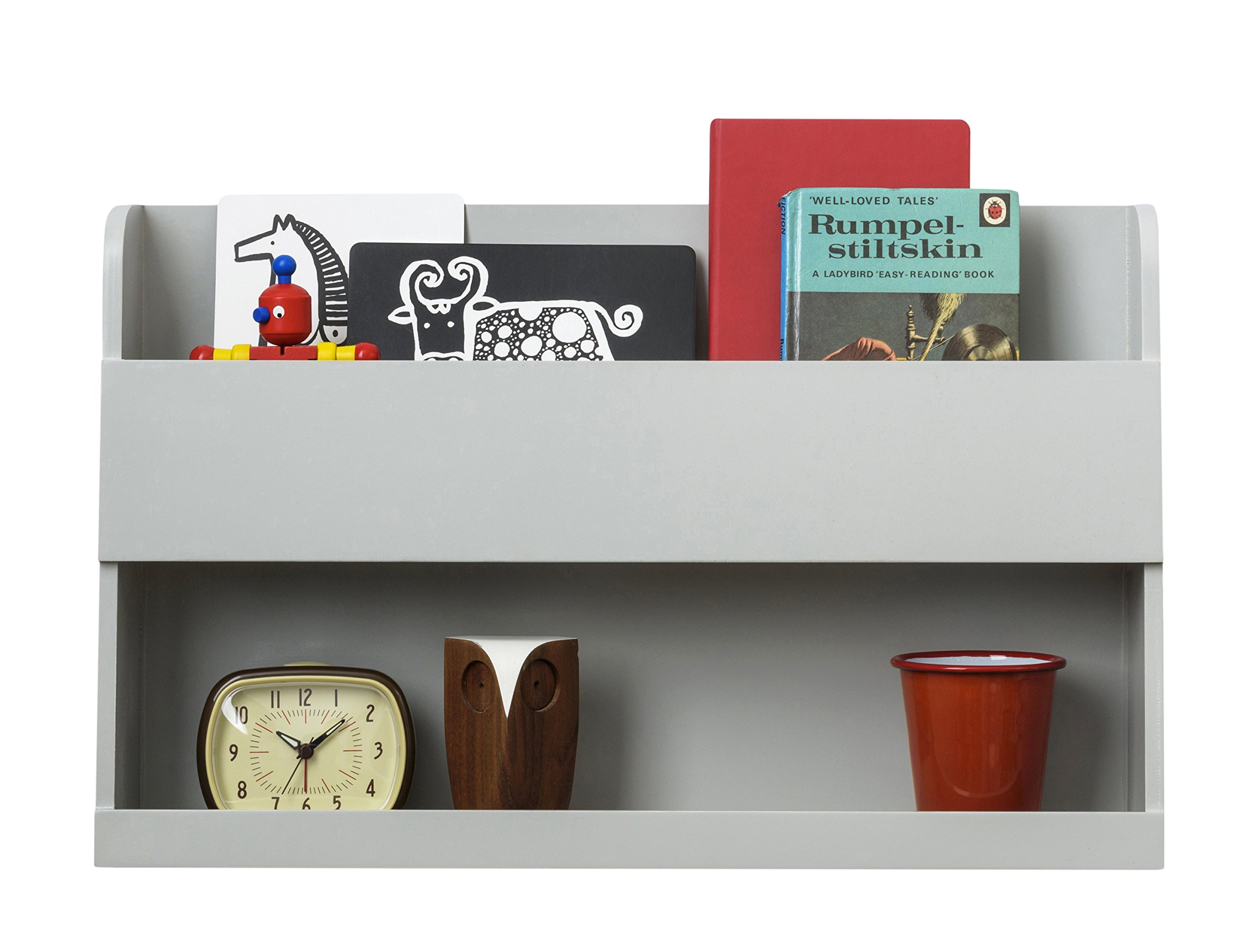 Tidy Books -The Original Bunk Bed Buddy- Bunk Bed Shelf in Pale Grey - Wall Shelf for Bedside Table Next to Bunk Beds and Cabin Beds - 13 x 20.9 x 4.7 in