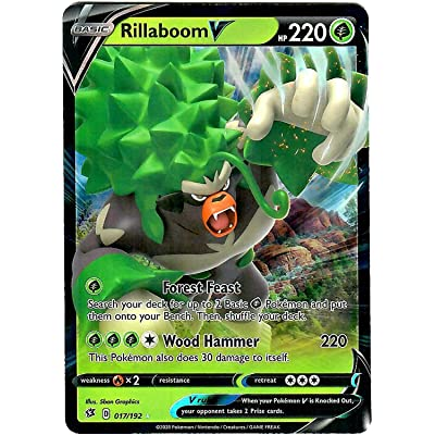 Rillaboom V 017/192 - Ultra Rare - Pokemon Sword and Shield Rebel Clash: Toys & Games