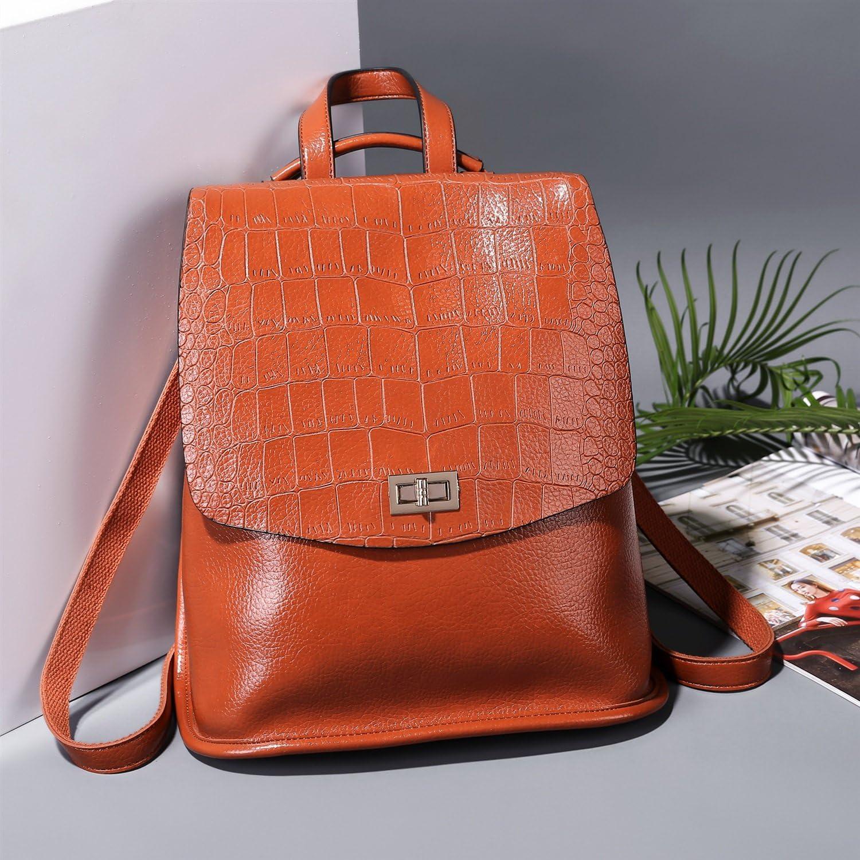 Color : Brown, Size : M Shengjuanfeng New Womens Backpack Crocodile Pattern Womens Casual Backpack Backpack Female Dual-use Handbag