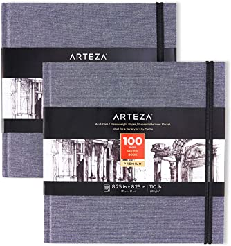110lb Dusty Blue Square Linen-Bound Hardcover 8.25x8.25 inch 100 Sheets Acid-Free Sketchbooks for Drawing with Dry Media Arteza Art Sketch Book 180gsm 2-Pack