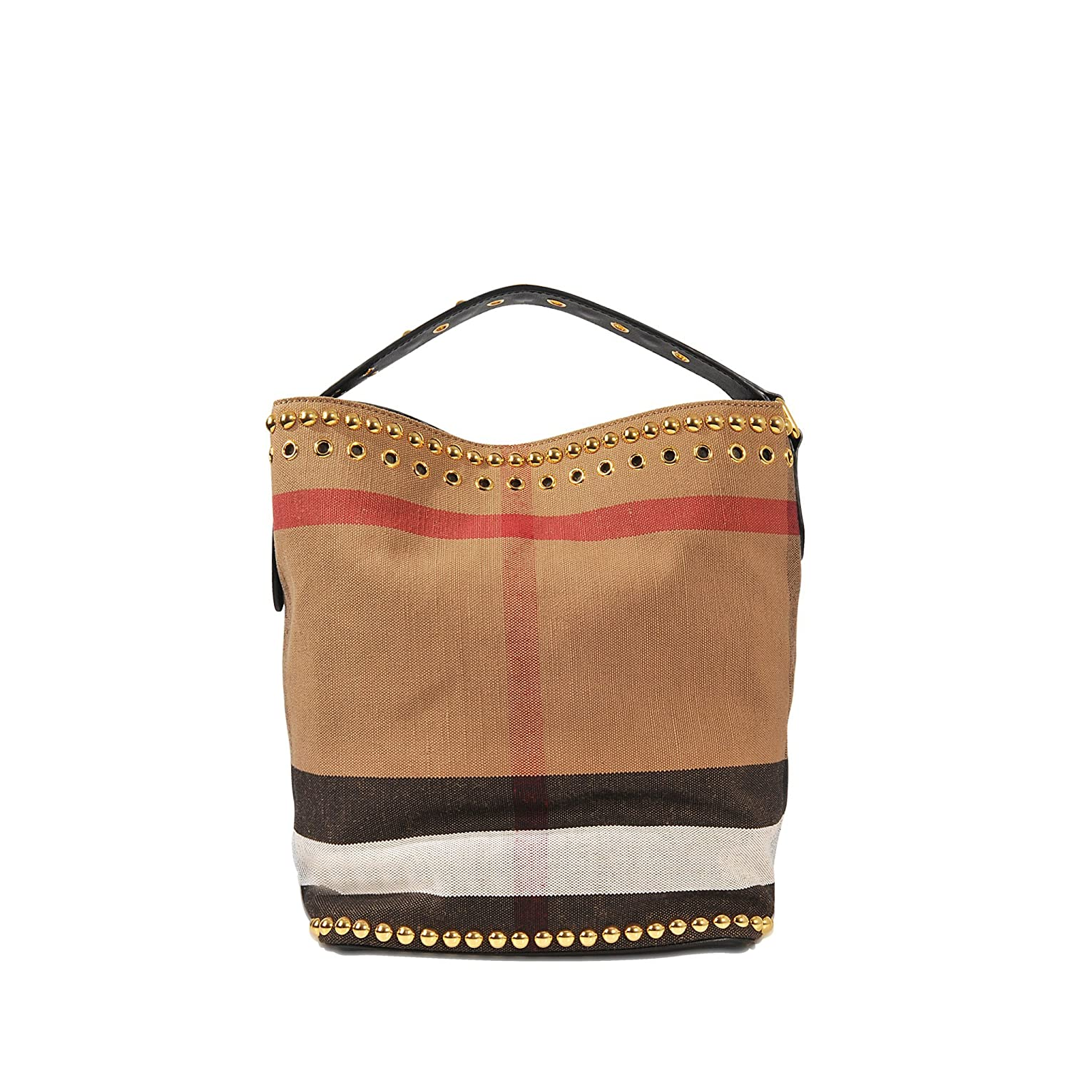7592b9651c56 Amazon.com  Burberry Women s Medium  Ashby  Riveted Canvas Check  Leather Handbag  Beige + Brown  Clothing