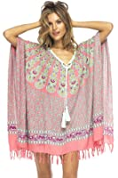 Back From Bali Womens Swimsuit Cover Up Tunic Beach Caftan Top Peacock Design