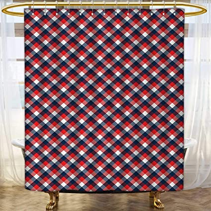Anhounine Plaid Shower Curtains 3D Digital Printing Checkered Gingham With Old Fashioned English Country Striped Squares