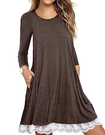 SHFZ Women\'s Short/Long Sleeve T Shirt Dress Plus Size Summer Lace Tunic  Dress with Pockets