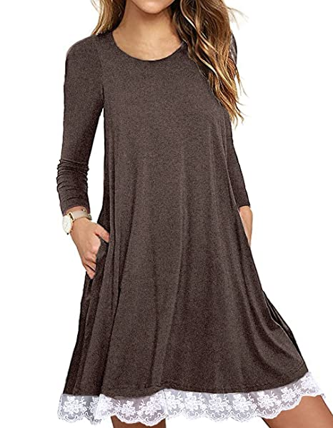 SHFZ Women\'s Short/Long Sleeve T Shirt Dress Plus Size Summer Lace Tunic  Dress with Pockets