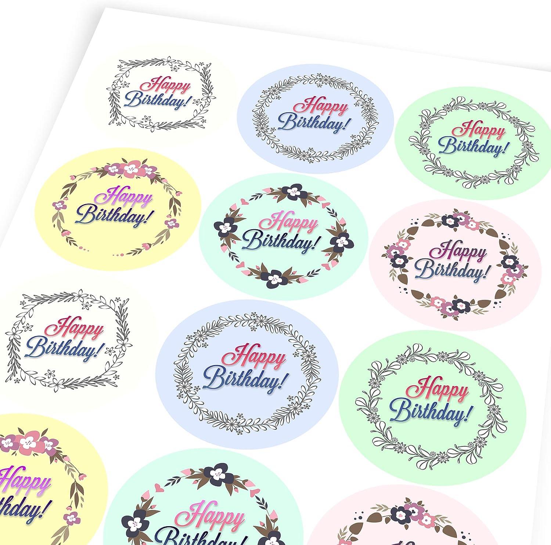 Children Graphic Flavour Floral Happy Birthday Messages Reward Sticker Labels 6 Stickers @ 9.5cm Teachers Parents