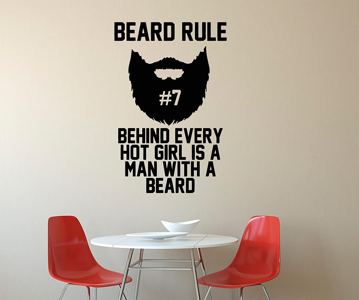 Amazon com assorted decals beard rule behind every hot girl is a man with a man with a bard wall decals decor vinyl sticker gmo1931 home kitchen