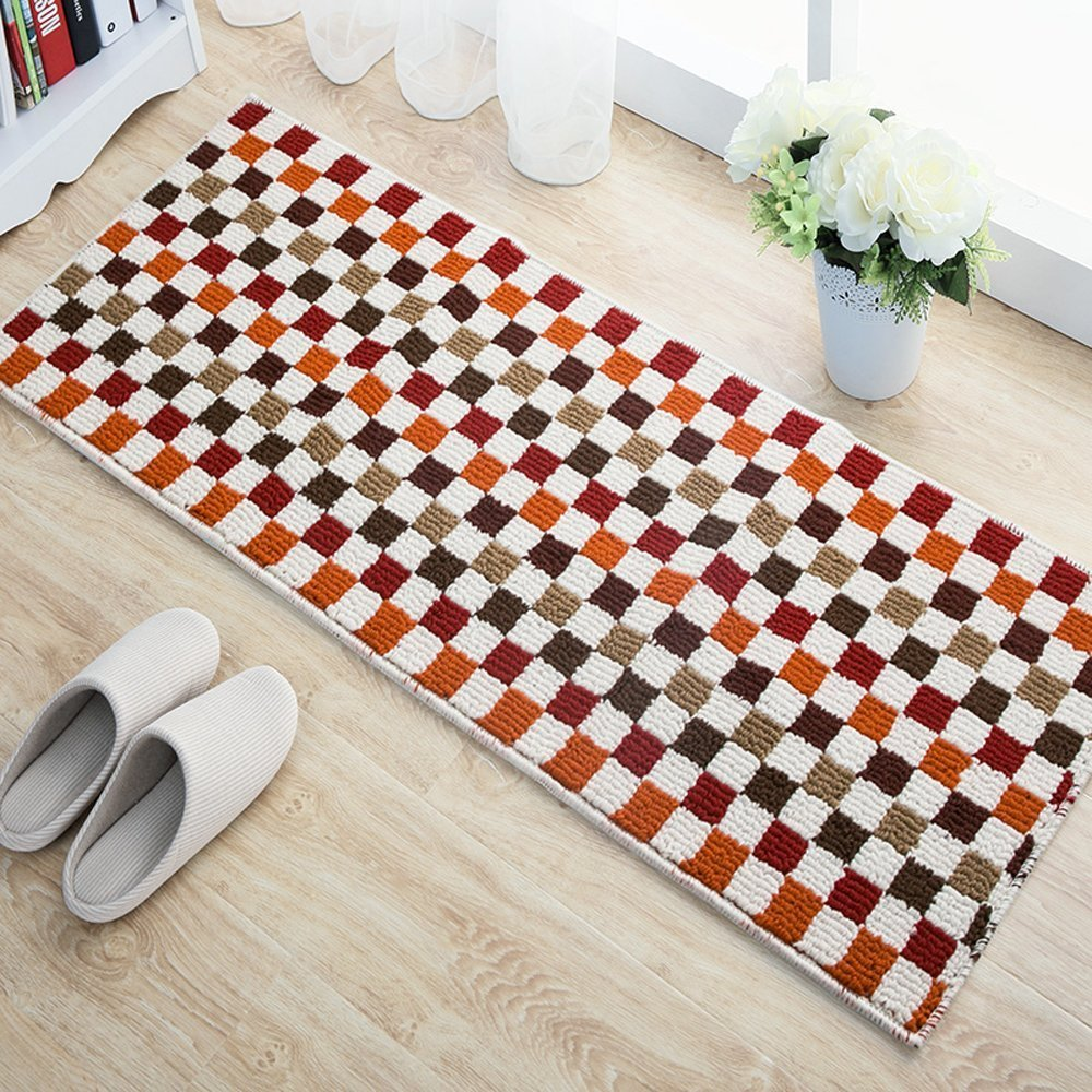 EUCH Non-slip Rubber Backing Carpet Kitchen Mat Doormat Runner Bathroom Rug 2 Piece Sets,17''x47''+17''x23'' (Red Mosaic) by EUCH (Image #3)
