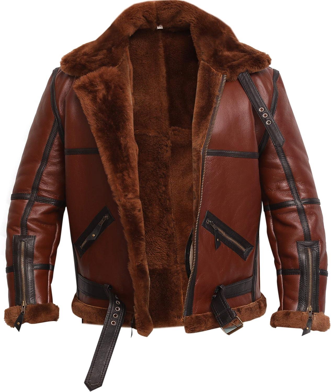 RAF British Real Shearling Flight Aviator Brown Bomber Leather Jacket