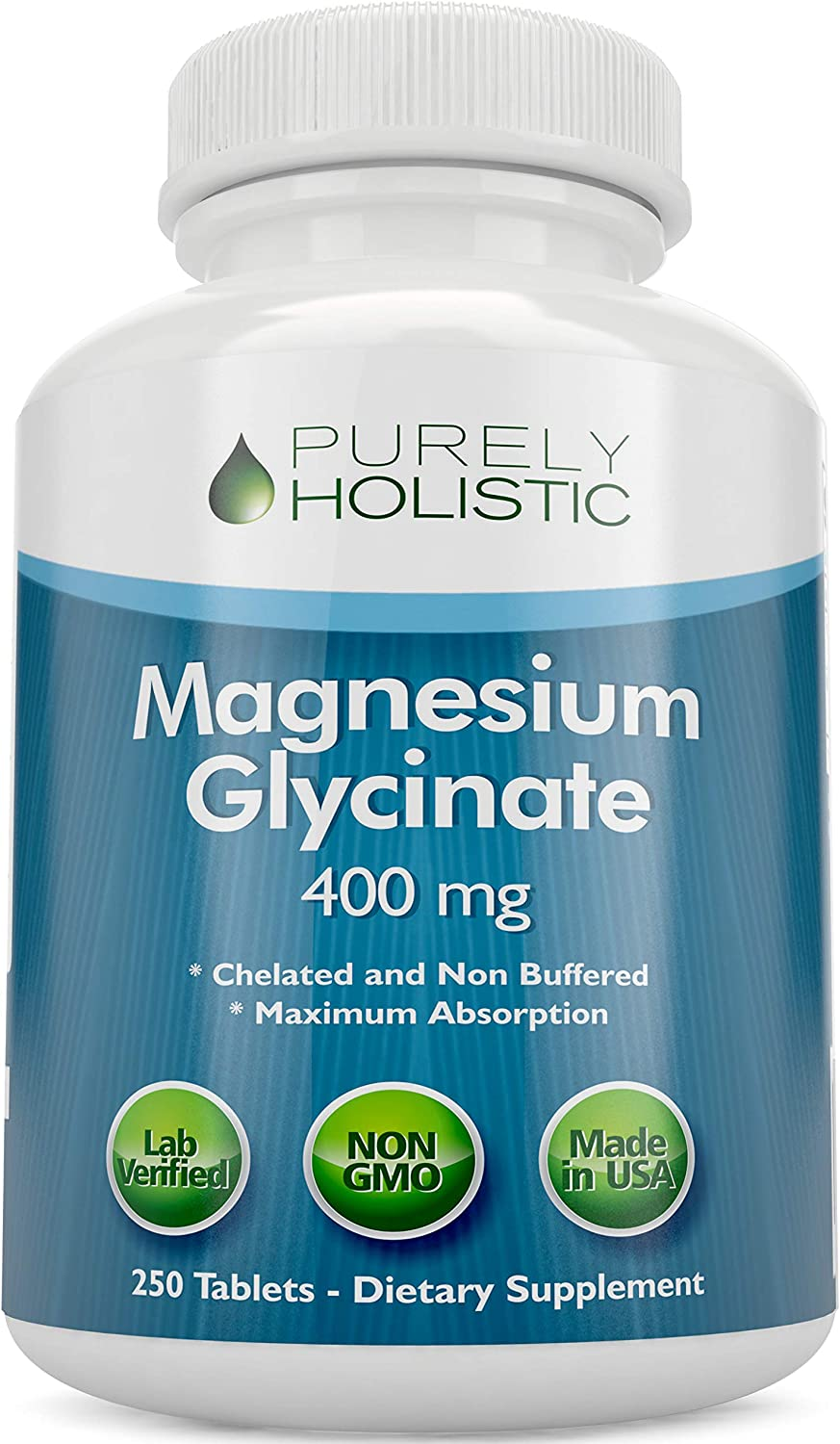 Magnesium Glycinate 400mg Tablets - 100% More 250 Magnesium Tablets (not Capsules), Highly Bioavailable, Chelated & Magnesium - Vegan and Vegetarian - Improved Sleep, Stress Relief & Cramp Defense